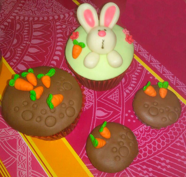 Cupcakes Di-Tartas pascua conejo fondant
